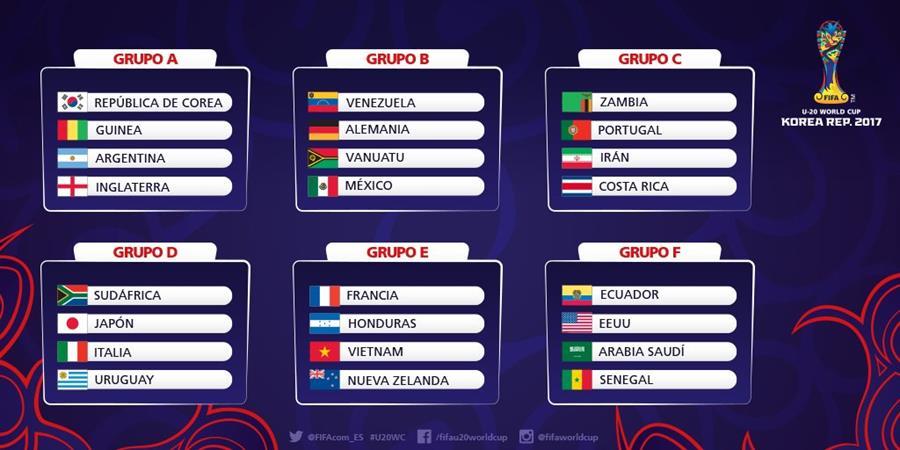 Así quedaron los grupos para el Mundial Sub 20 de futbol que se disputará del 20 de mayo al 11 de junio en seis ciudades surcoreanas. (Foto Prensa Libre).