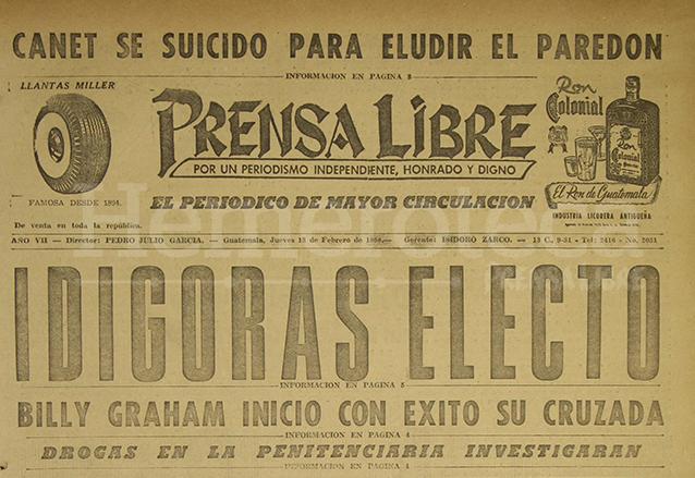 Titular de Prensa Libre del 13 de febrero de 1958. (Foto: Hemeroteca PL)
