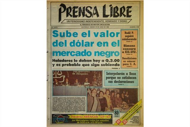 En junio de 1988, el dólar llegó a costar hasta Q3 en el mercado negro. (Foto: Hemeroteca PL)