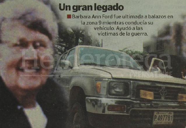 La religiosa estadounidense Barbara Ann Ford fue asesinada en Guatemala el 5 de mayo de 2001. (Foto: Hemeroteca PL)