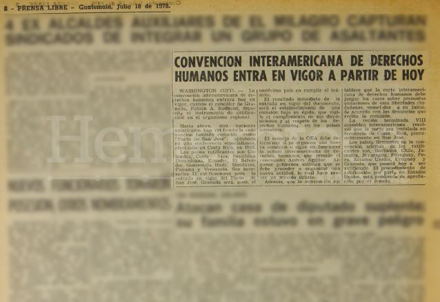 El 18 de julio de 1978 Prensa Libre informaba sobre la entrada en vigencia de la Convención Interamericana de Derechos Humanos. (Foto: Hemeroteca PL)