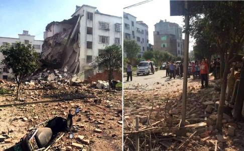 Un edificio quedo medio derruido y varios vehículos dañados por la explosión.
