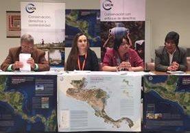 Delegados de pueblos indígenas de Centroamérica presentan el mapa que define los territorio en el istmo. (Foto Prensa Libre: cortesía)