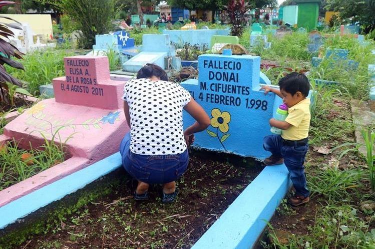 Una mujer acompañada de su hijo visitan la tumba de su padre en el cementerio de Retalhuleu (Foto Prensa Libre: Rolando Miranda)