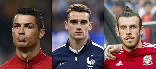 CR7, Griezmann y Bale, son los tres futbolistas que optan a ganar el premio a mejor jugador de la UEFA para la temporada 2015/16. (Foto Prensa Libre: EFE)