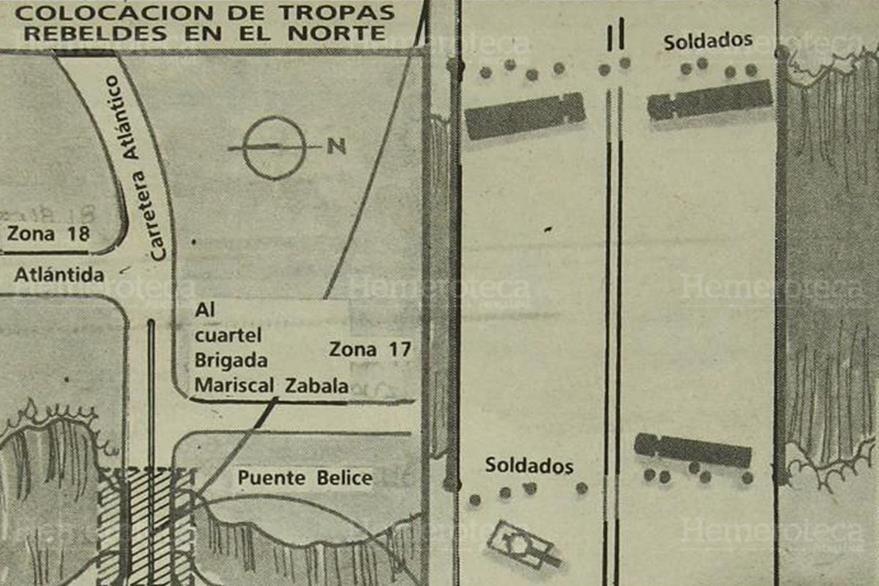10/05/1989. Colocación del grupo alzado en el puente Belice de la ciudad capital. (Foto: Hemeroteca PL)