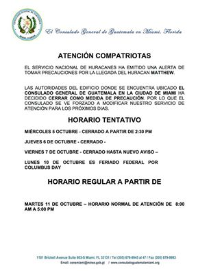 El Consulado de Guatemala en Miami informa de su horario restringido por la llegada del huracán Matthew. (Foto Facebook/Consulado Guatemala-Miami).