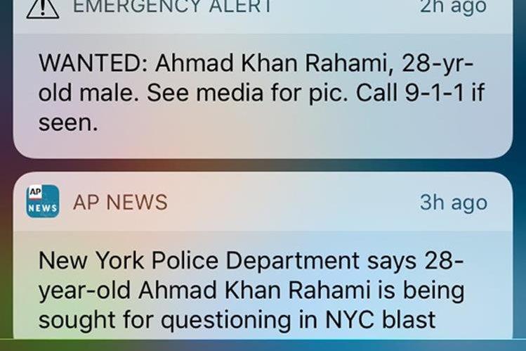 """""""BUSCADO: Ahmad Khan Rahami, 28 años de edad - hombre. Por foto ver medios. Llamar al 911 si lo ven"""". Este fue el mensaje enviado por las autoridades. (Foto Prensa Libre: AP)."""