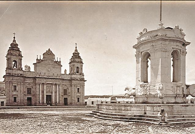 La Plaza Mayor de Guatemala donde aparece la fuente de Carlos III, circa 1870. (Foto: Eadweard Muybridge)