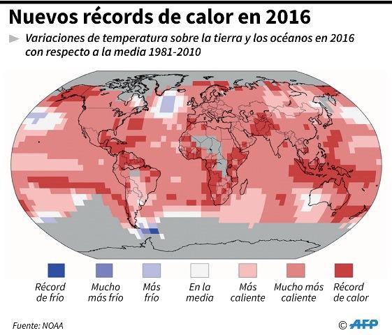 Variaciones de la temperatura de la tierra y los océanos en el 2016. (AFP).