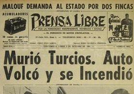 Titular de Prensa Libre del 3 de octubre de 1966. (Foto: Hemeroteca PL)