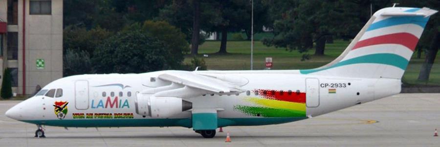 Un avión de la compañía aérea boliviana LaMia, dueña de la aeronave siniestrada en Colombia. (Foto Prensa Libre: AP).