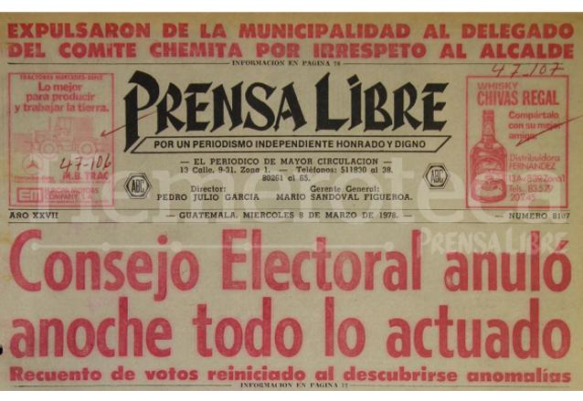 Las elecciones de 1978 fueron calificadas como fraudulentas. (Foto: Hemeroteca PL)