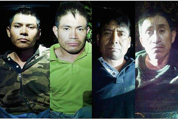 Cuatro de los capturados por la PNC sindicados de secuestrar a un comerciante en Nebaj, Quiché. (Foto Prensa Libre: PNC)