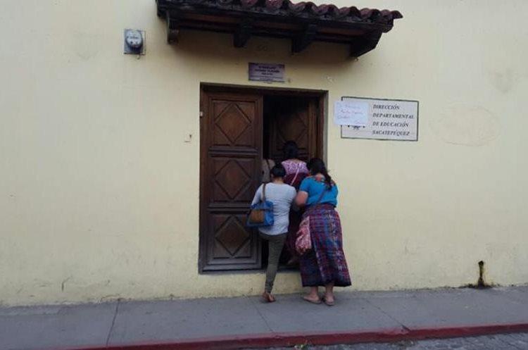 La Dirección Departamental de Educación de Sacatepéquez permanece cerrada.