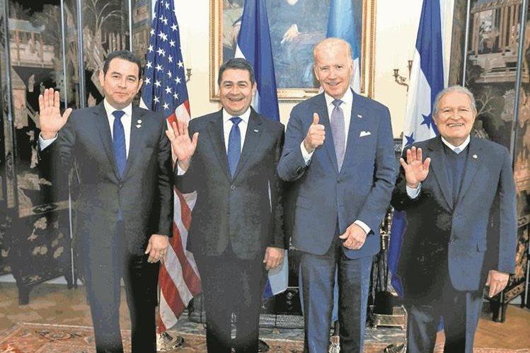 En febrero pasado fue la última vez que los presidentes del Triángulo Norte se reunieron con Biden. (Foto Prensa Libre: HemerotecaPL)
