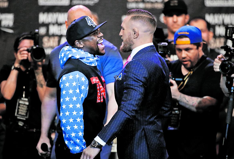 Floyd Mayweather Jr. y Conor McGregor se enfrentarán el 26 de agosto en Las Vegas. (Foto Prensa Libre: AP)