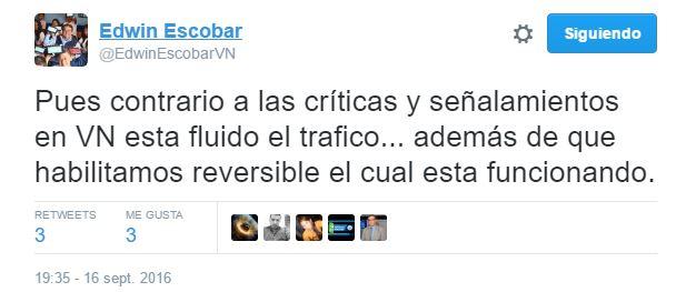 Alcalde de Villa Nueva, Edwin Escobar, sostiene que el Villa Nueva no hubo problemas en el tránsito de vehículos. (Foto Prensa Libre: Twitter)