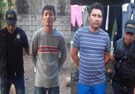 Capturados en Sipacate, Escuintla, son sindicados de haberle causado la muerte a una mujer y su hija. (Foto Prensa Libre: PNC)