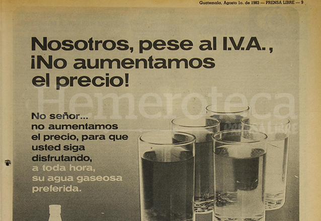 Dada la confusión entre la mayoría de consumidores, las empresas informaron a través de la publicidad la inclusión del IVA en los precios, anuncio del 1/8/1983. (Foto: Hemeroteca PL)
