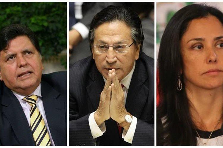 Los expresidentes, Alan García (i), Alejandro Toledo (c) y la primera dama, Nadine Heredia (d), son investigados. (Foto: agencias).