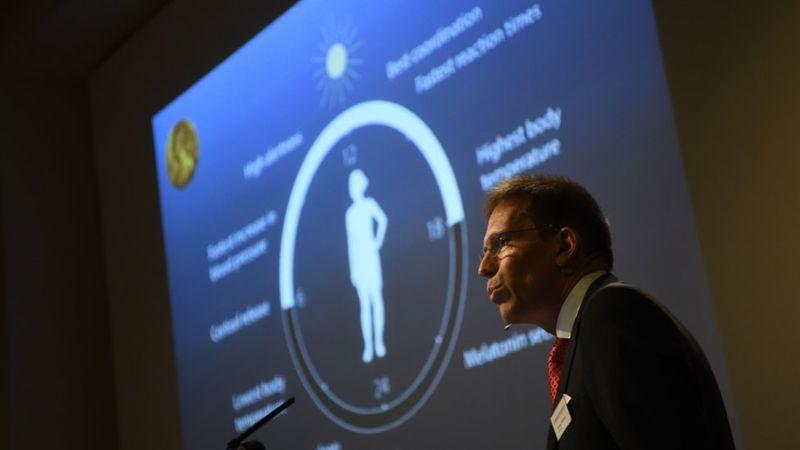 Thomas Perlmann, secretario del Comité del Nobel de Medicina, anunció a los ganadores de 2017. (AFP/Getty Images)