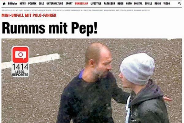 El diario Bild de Alemania, publicó la fotografía de Pep Guardiola con el conductor del Polo. (Foto Prensa Libre: Diario Bild)