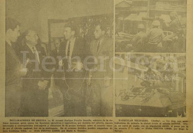 A la izquierda aparece el coronel Peralta Azurdia brindando declaraciones a medios de comunicación informando sobre el golpe de Estado. A la derecha, patrullas militares a inmediaciones del palacio nacional como parte del estado de sitio. (Foto: Hemeroteca PL)