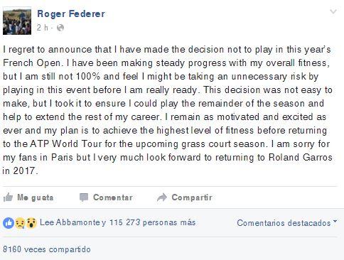 De esta manera anunció su no participación el tenista suizo.
