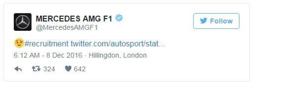 Y la reacción de la cuenta oficial del equipo Mercedes. (Twitter)