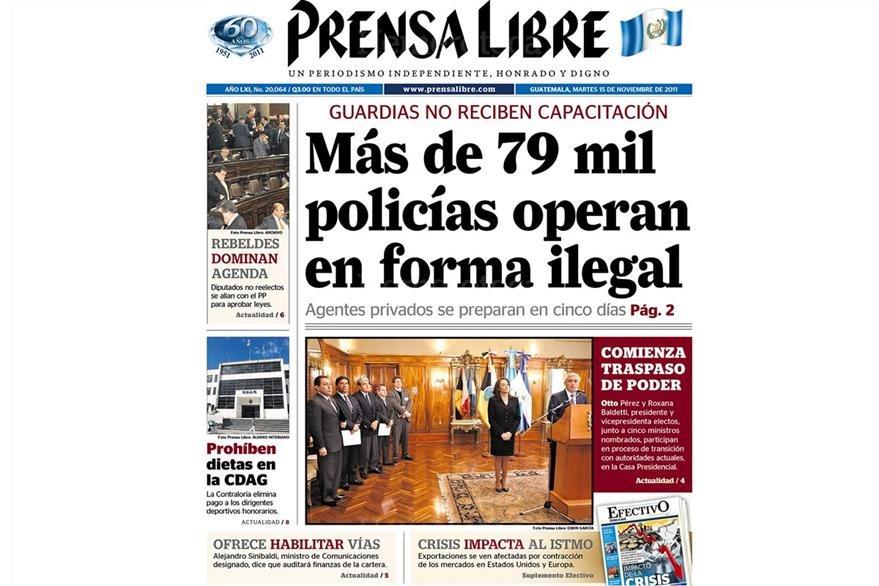 Portada del 15/11/2011, con Pérez y Baldetti. (Foto: Hemeroteca PL)