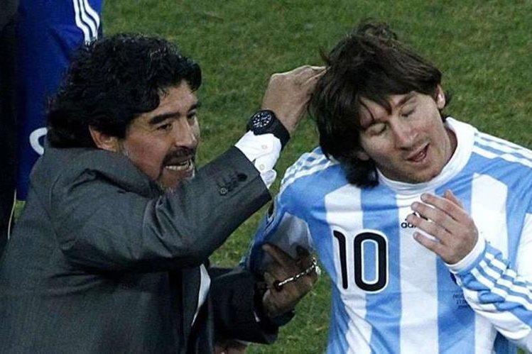 Diego Armando Maradona siempre ha sido criticó con las actuaciones de Messi con la selección argentina. (Foto Prensa Libre: Hemeroteca PL)