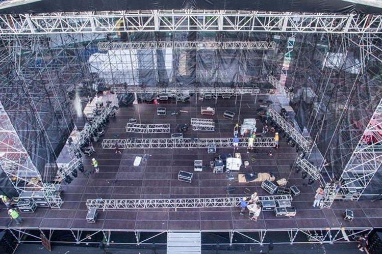 El escenario en el que actuará Metallica cumple con estándares mundiales. (Foto Prensa Libre: Cortesía SD Concerts Guatemala)