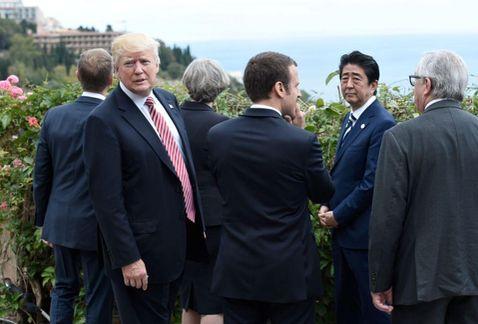Trump fue el último líder en llegar a la inauguración oficial del G7. (Foto Prensa Libre: AFP)