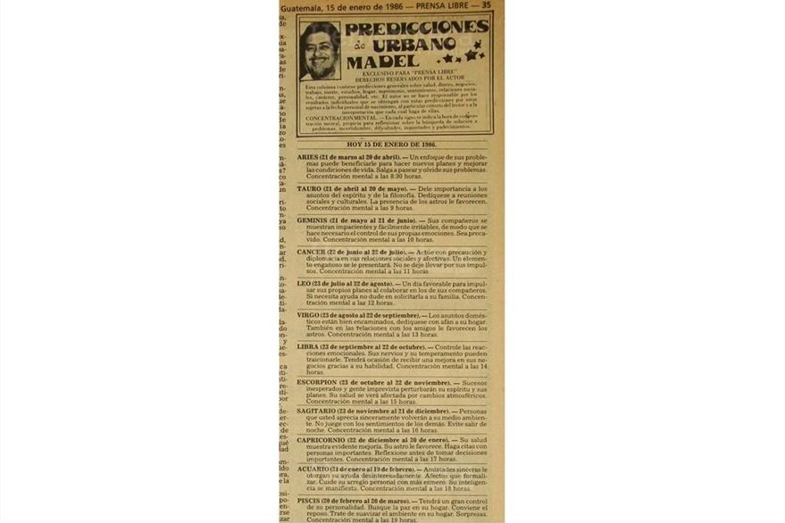Capricornio, símbolo zodiacal de Vinicio Cerezo. Predicciones del 15 de enero de 1986, en su primer día como presidente. (Foto: Hemeroteca PL)