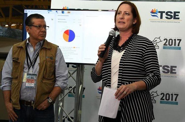 La Encargada de Negocios de la Embajada de Estados Unidos en Honduras, Heidi Fulton (d) y el presidente del Tribunal Supremo Electoral (TSE) de Honduras, David Matamoros, hablan a la prensa. (AFP).
