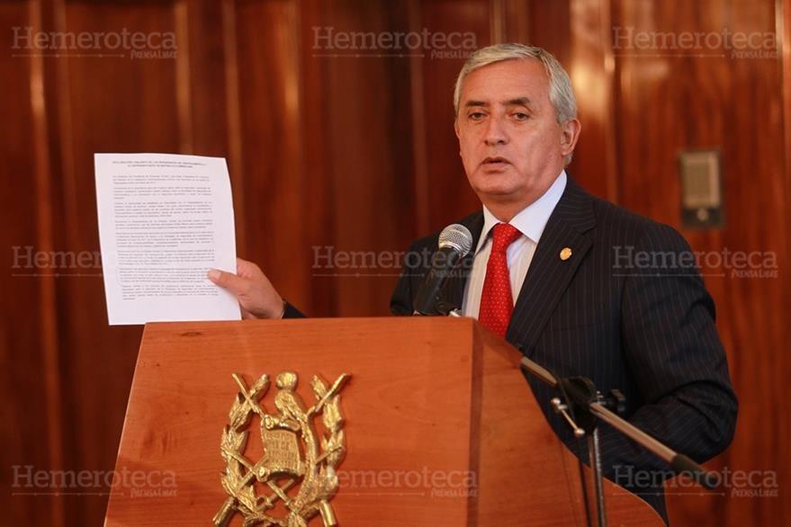 07/03/2012. El entonces presidente Otto Pérez Molina da declaraciones de la reunión con el vicemandatario de Estados Unidos, Joseph Biden. (Foto: Hemeroteca PL)