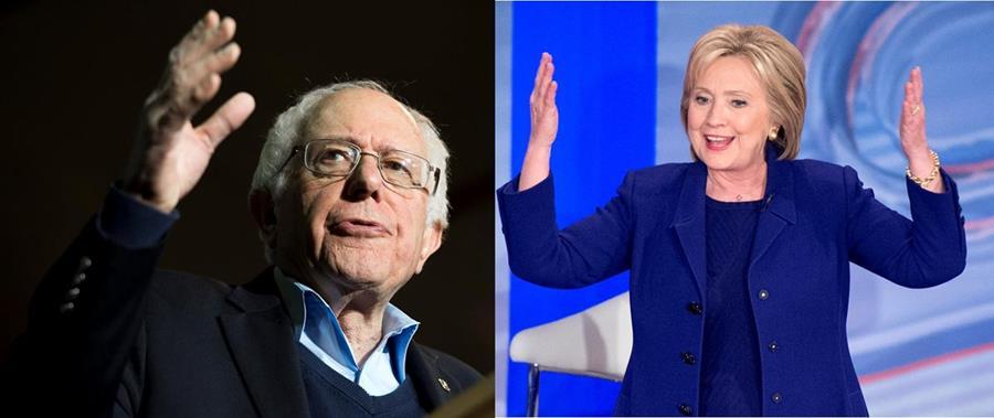 Bernie Sanders (izq.) pone el camino difícil a Hillary Clinton. (Fotos Prensa Libre: EFE).