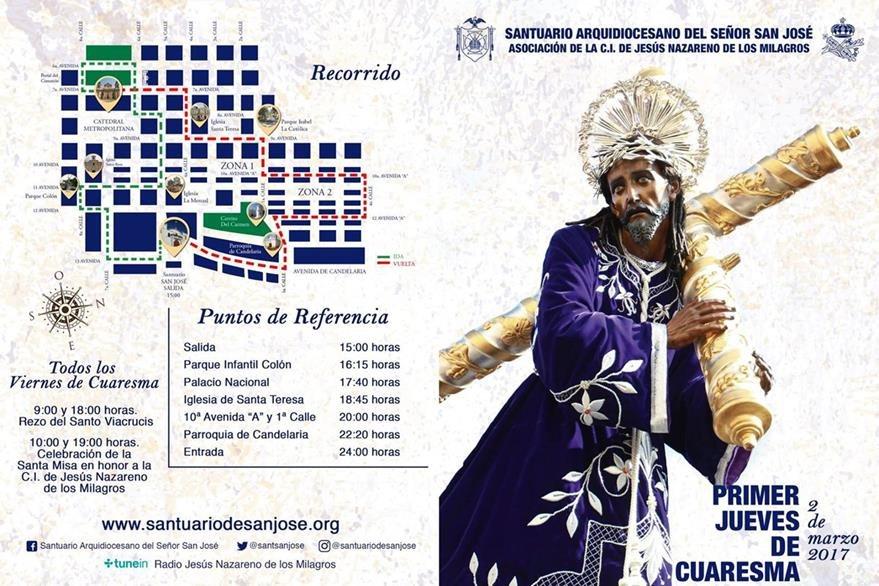 Recorrido de la procesion del Primer Jueves de Cuaresma, 2 de marzo de 2017. (Foto: Santuario de San José)