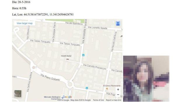 Localización de una usuaria, con las coordenadas exactas, que permitía la aplicación de Tinder. (MARC PRATLLUSÀ / ORIOL MARTÍNEZ).