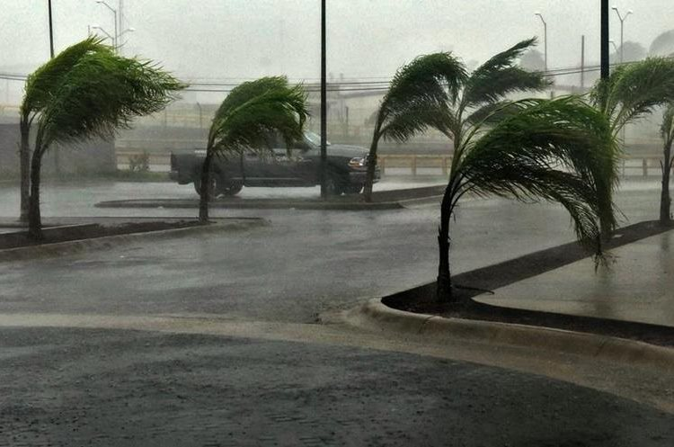 View of a street in Manzanillo, Colima state, Mexico on October 23, 2015, during hurricane Patricia. The strongest hurricane ever recorded crashed into Mexico