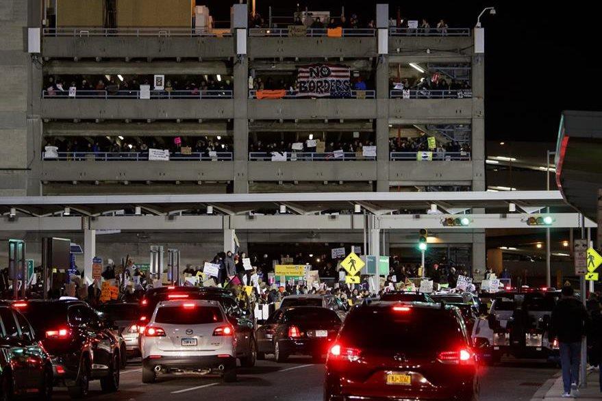 Terminal 4 del Aeropuerto John F. Kennedy de Nueva York, donde hubo protestas. (EFE)