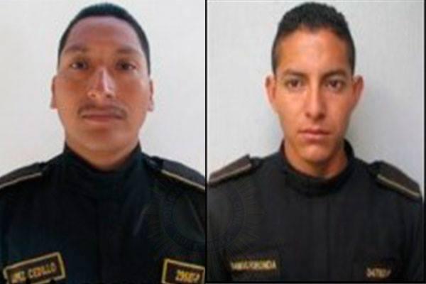 Agentes de la PNC que fallecieron este martes luego de ser arrollados por un cabezal. (Foto Prensa Libre: Cortesía PNC)