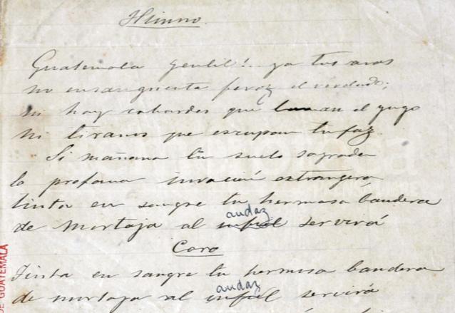 Manuscrito original del Himno Nacional. (Foto: Hemeroteca PL)