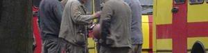 Sitio de la explosión en Ucrania