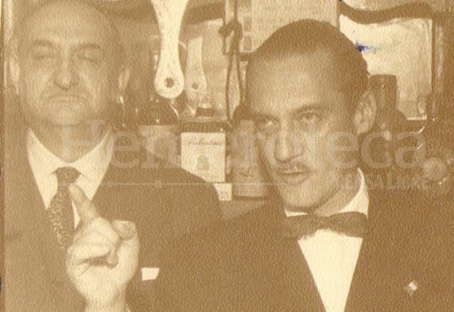 El escritor Rodríguez Macal junto al español Pedro Caba en 1958. (Foto: Hemeroteca PL)