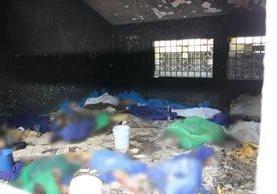 En esta habitación del hogar 19 menores fueron halladas calcinadas, según detalla informe. Foto Prensa Libre: Hemeroteca PL