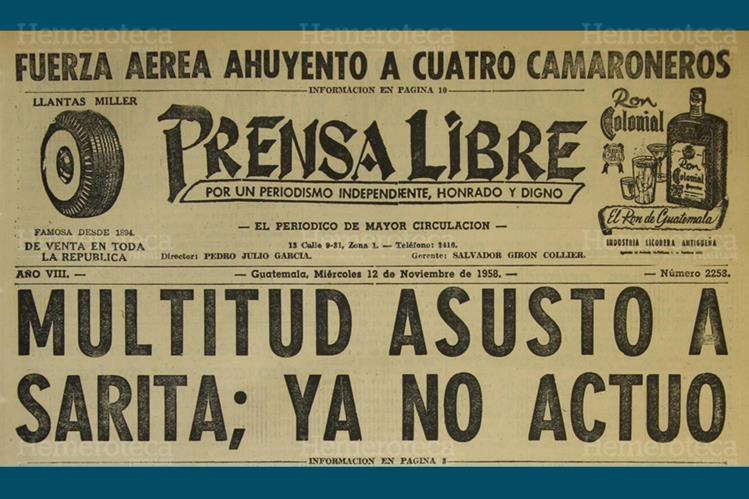 Titular de Prensa Libre del 12 de noviembre de 1958, donde se destaca el incidente con Sarita Montiel. (Foto: Hemeroteca PL)
