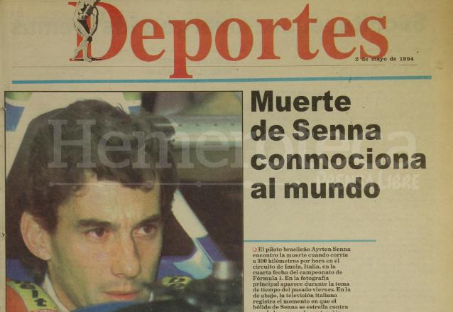Titular de la sección de Deportes de Prensa Libre del 2 de mayo de 1994 informando de la muerte de Ayrton Senna. (Foto: Hemeroteca PL)