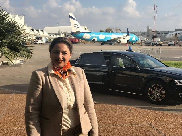 Sandra Jovel a su llegada a Israel previo a la apertura de la embajada. (Foto Prensa Libre: Minex)
